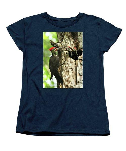 Male Pileated Woodpecker At Nest Women's T-Shirt (Standard Cut) by Mircea Costina Photography