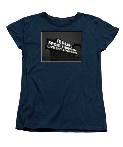 Women's T-Shirt (Standard Cut) featuring the photograph Malibu Pier Sign In Bw by Glenn McCarthy Art and Photography