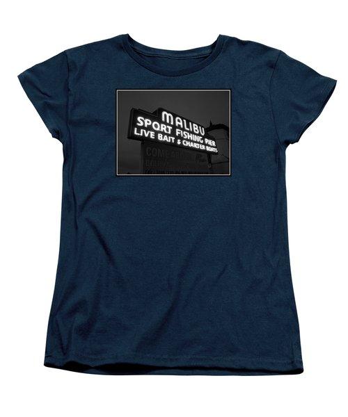 Malibu Pier Sign In Bw Women's T-Shirt (Standard Cut) by Glenn McCarthy Art and Photography