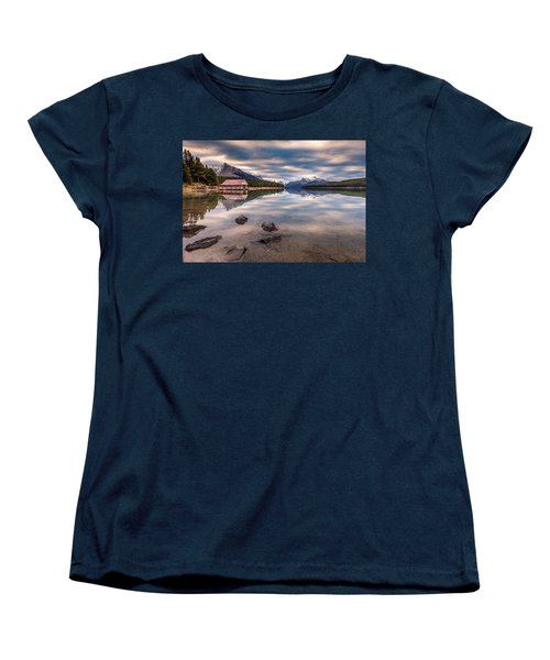 Women's T-Shirt (Standard Cut) featuring the photograph Maligne Lake Boat House Sunrise by Pierre Leclerc Photography