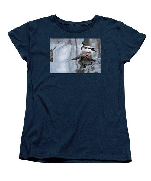 Women's T-Shirt (Standard Cut) featuring the photograph Mallard Drake by Edward Peterson