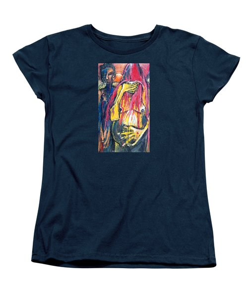 Women's T-Shirt (Standard Cut) featuring the painting Man And Woman Pregnant by Kenneth Agnello