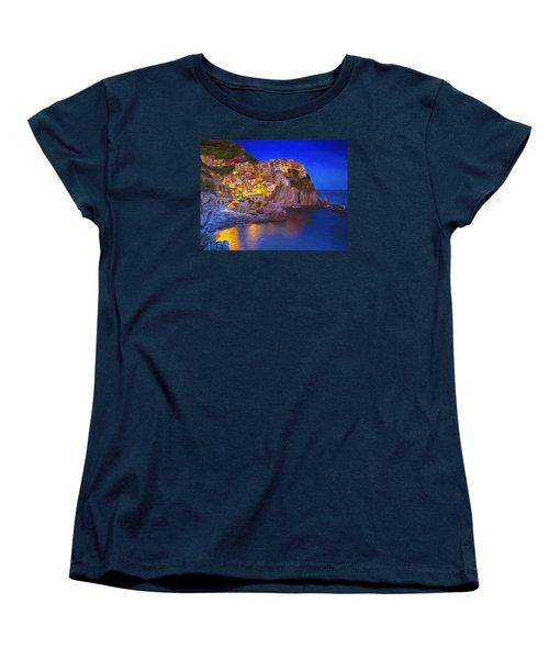 Manarola By Moonlight Women's T-Shirt (Standard Cut) by Dominic Piperata