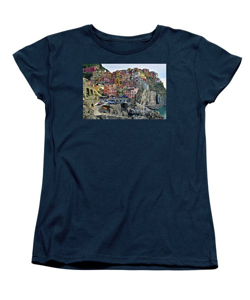Women's T-Shirt (Standard Cut) featuring the photograph Manarola Cinque Terre Italy by Frozen in Time Fine Art Photography