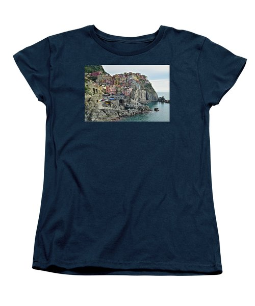 Women's T-Shirt (Standard Cut) featuring the photograph Manarola Version Three by Frozen in Time Fine Art Photography