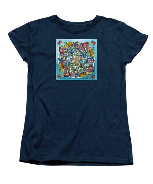Mandala Fish Pool Women's T-Shirt (Standard Cut) by Bedros Awak