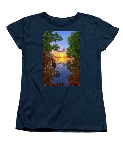 Mangrove Sunset From Jensen Beach Florida Women's T-Shirt (Standard Cut) by Justin Kelefas