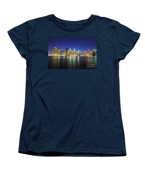Manhattan Nite Lites Nyc Women's T-Shirt (Standard Cut) by Yhun Suarez