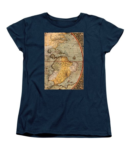 Map Of The Americas 1570 Women's T-Shirt (Standard Cut) by Andrew Fare