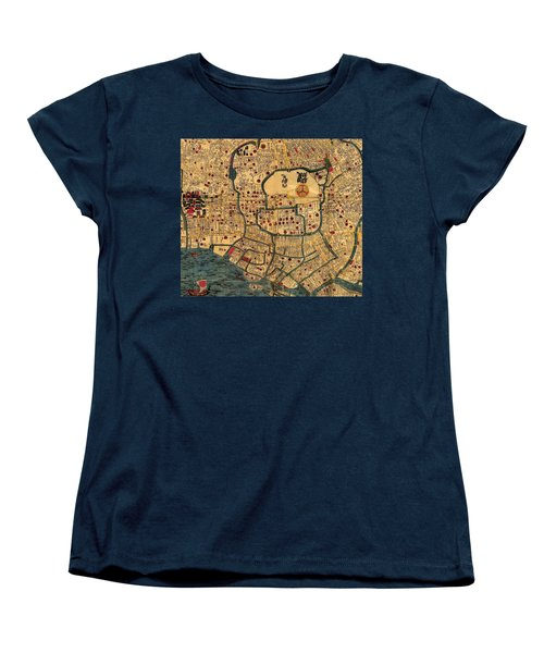 Map Of Tokyo 1845 Women's T-Shirt (Standard Cut) by Andrew Fare