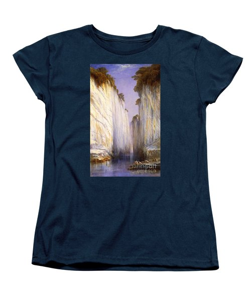 Women's T-Shirt (Standard Cut) featuring the painting Marble Rocks - Nerbudda Jubbulpore by Pg Reproductions
