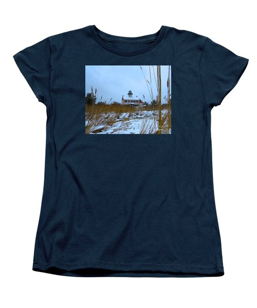 March Snow At East Point Lighthouse Women's T-Shirt (Standard Cut) by Nancy Patterson