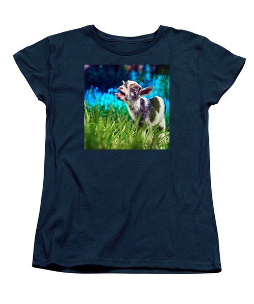 Baby Goat Kid Singing Women's T-Shirt (Standard Cut) by TC Morgan