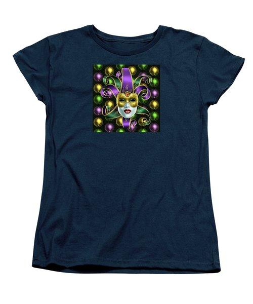 Mardi Gras Mask And Beads Women's T-Shirt (Standard Cut) by Gary Crockett