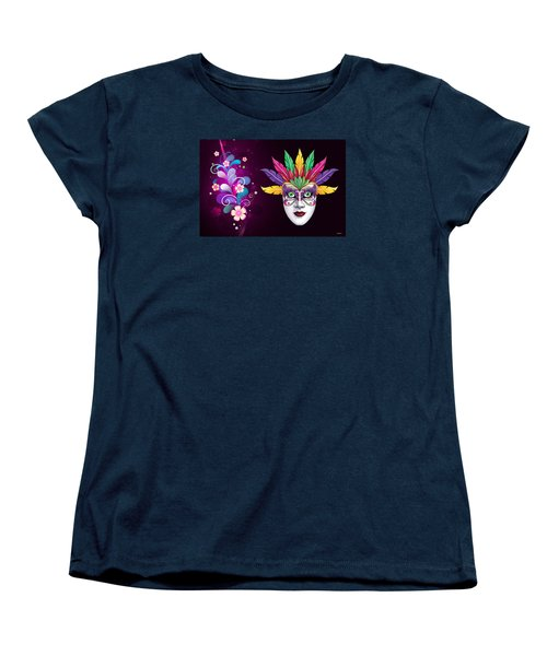 Women's T-Shirt (Standard Cut) featuring the photograph Mardi Gras Mask On Floral Background by Gary Crockett
