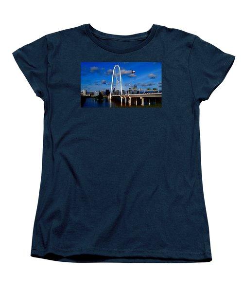 Margaret Hunt Hill Bridge Dallas Flood Women's T-Shirt (Standard Cut) by Kathy Churchman