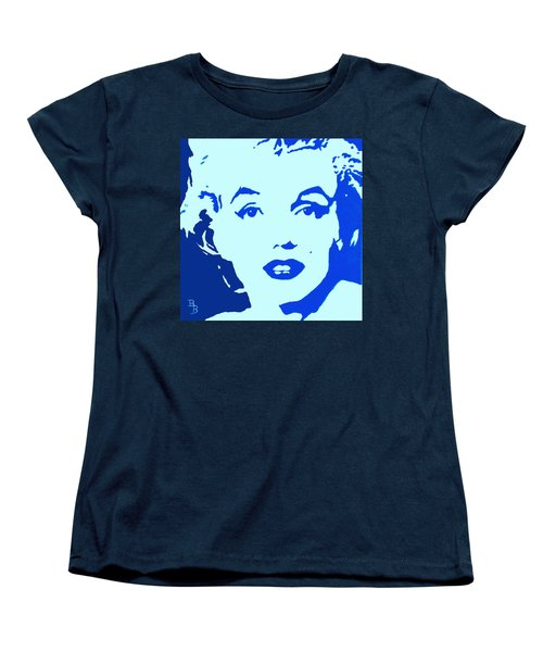 Women's T-Shirt (Standard Cut) featuring the painting Marilyn Monroe Blue Pop Art Portrait by Bob Baker