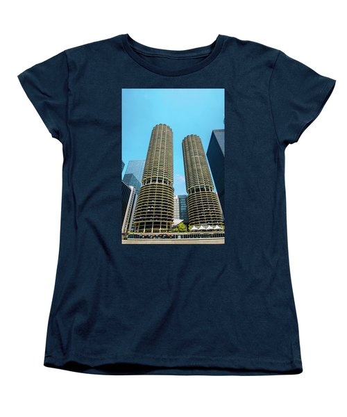 Marina City Chicago Women's T-Shirt (Standard Cut) by Deborah Smolinske
