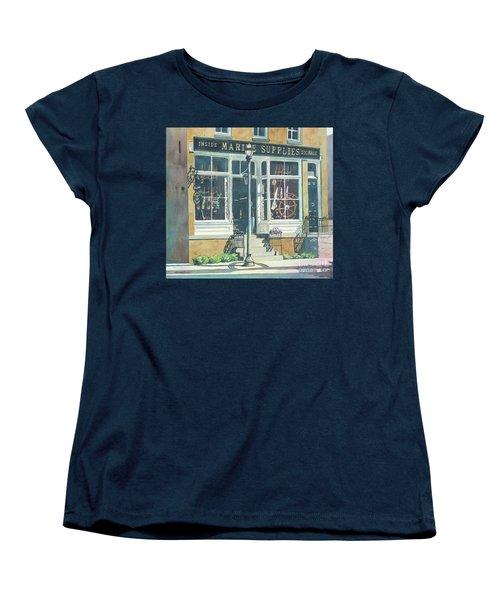 Women's T-Shirt (Standard Cut) featuring the painting Marine Supply Store by LeAnne Sowa