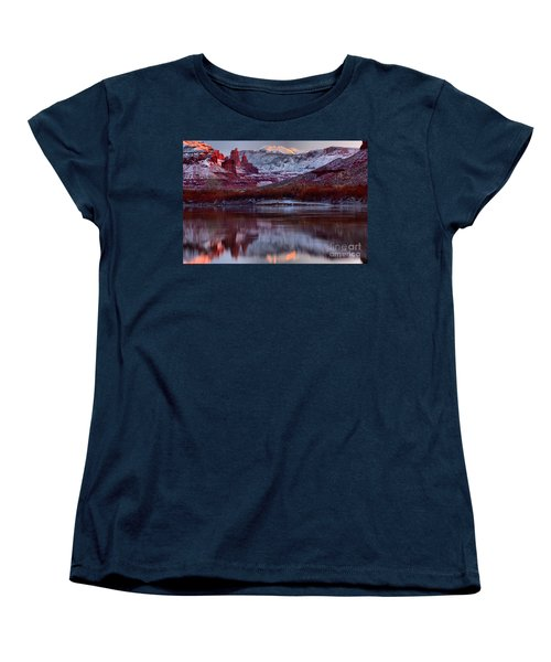 Women's T-Shirt (Standard Cut) featuring the photograph Maroon Fisher Towers by Adam Jewell