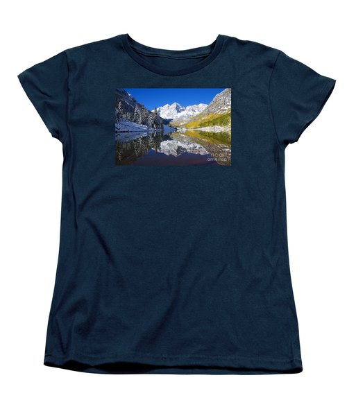 Maroon Lake And Bells 1 Women's T-Shirt (Standard Cut) by Ron Dahlquist - Printscapes