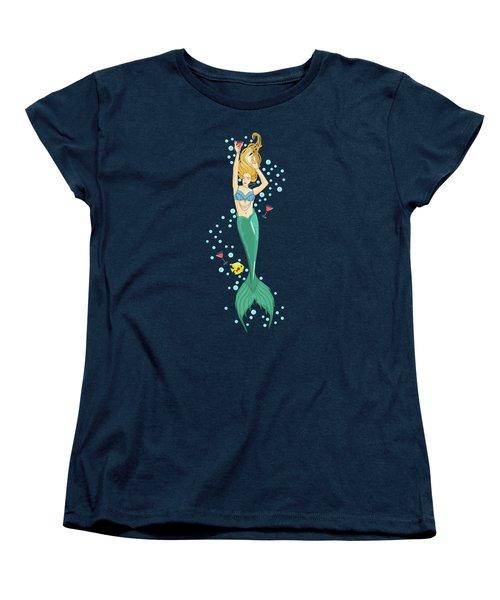 Martini Mermaid Women's T-Shirt (Standard Cut) by Tracy Dixon