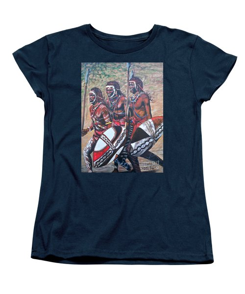 Women's T-Shirt (Standard Cut) featuring the painting Masaai Warriors by Sigrid Tune