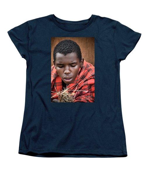 Women's T-Shirt (Standard Cut) featuring the photograph Masai Firemaker by Karen Lewis