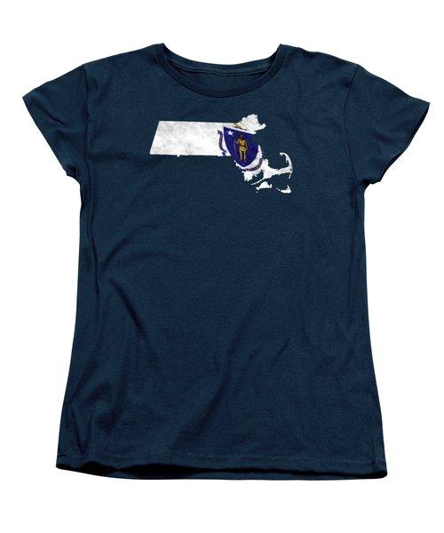 Massachusetts Map Art With Flag Design Women's T-Shirt (Standard Cut)