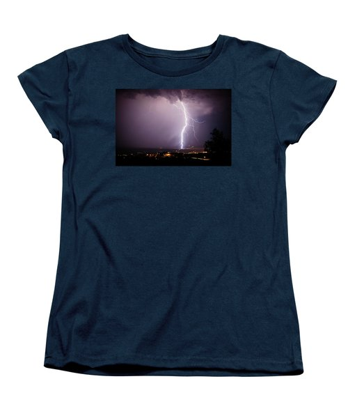 Women's T-Shirt (Standard Cut) featuring the photograph Massive Lightning Storm by Ron Chilston