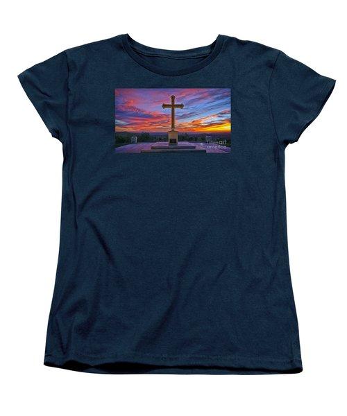 Christian Cross And Amazing Sunset Women's T-Shirt (Standard Cut) by Sam Antonio Photography