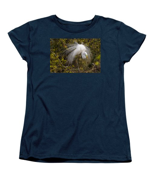 Mating Egret Women's T-Shirt (Standard Cut) by Kelly Marquardt