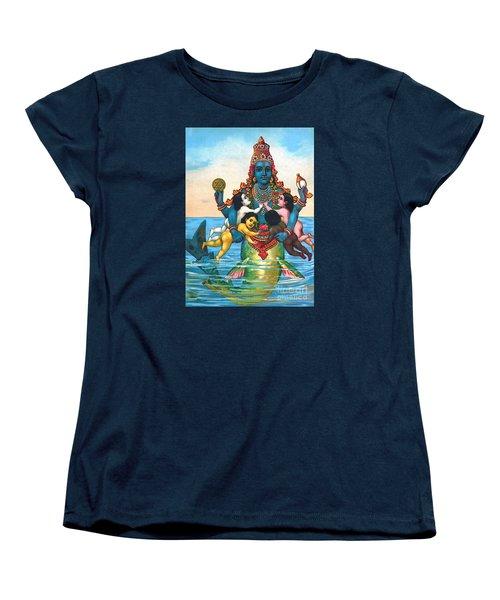 Women's T-Shirt (Standard Cut) featuring the painting Matsya - Avatar Of Vishnu by Pg Reproductions