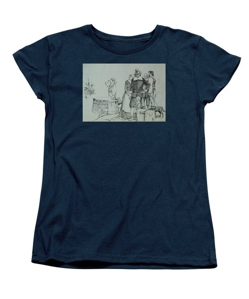 Women's T-Shirt (Standard Cut) featuring the drawing Mayflower Departure. by Mike Jeffries