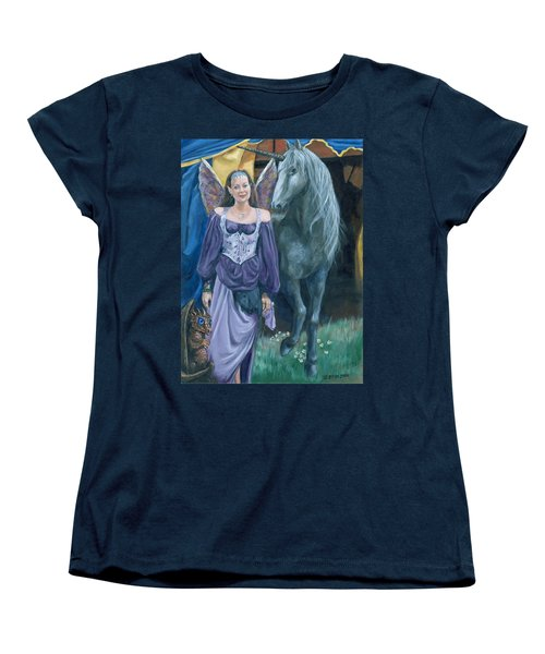 Women's T-Shirt (Standard Cut) featuring the painting Medieval Fantasy by Bryan Bustard