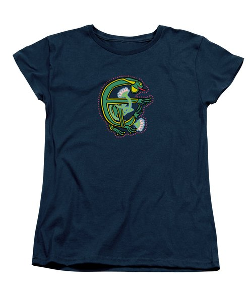 Medieval Frog Letter E Women's T-Shirt (Standard Cut) by Donna Huntriss