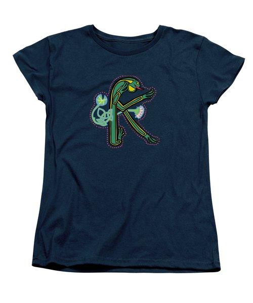 Medieval Frog Letter K Women's T-Shirt (Standard Cut) by Donna Huntriss