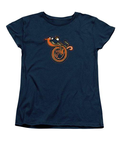 Medieval Squirrel Letter D Blue Women's T-Shirt (Standard Cut) by Donna Huntriss