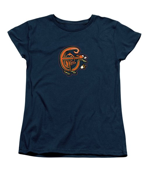 Medieval Squirrel Letter E Women's T-Shirt (Standard Cut) by Donna Huntriss