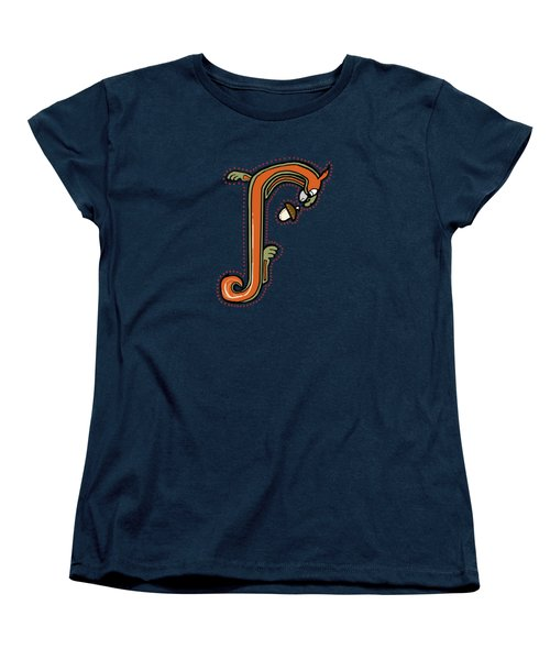 Medieval Squirrel Letter J Women's T-Shirt (Standard Cut) by Donna Huntriss