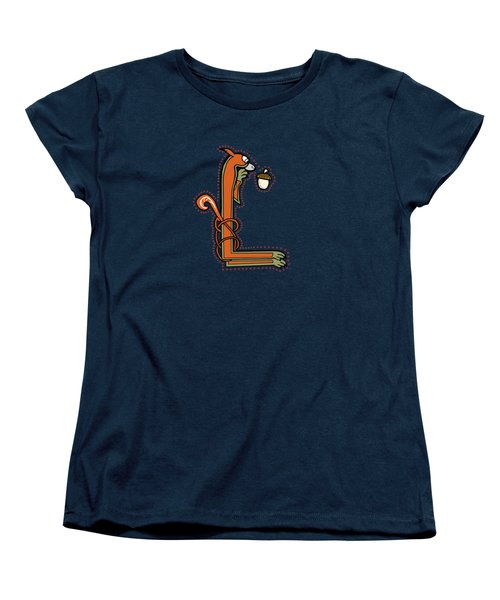 Medieval Squirrel Letter L Women's T-Shirt (Standard Cut) by Donna Huntriss