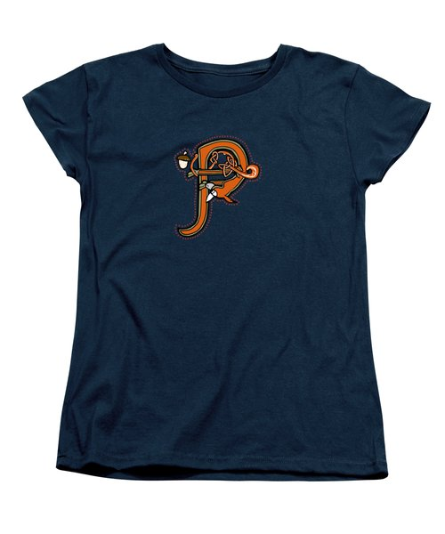Women's T-Shirt (Standard Cut) featuring the digital art Medieval Squirrel Letter P by Donna Huntriss