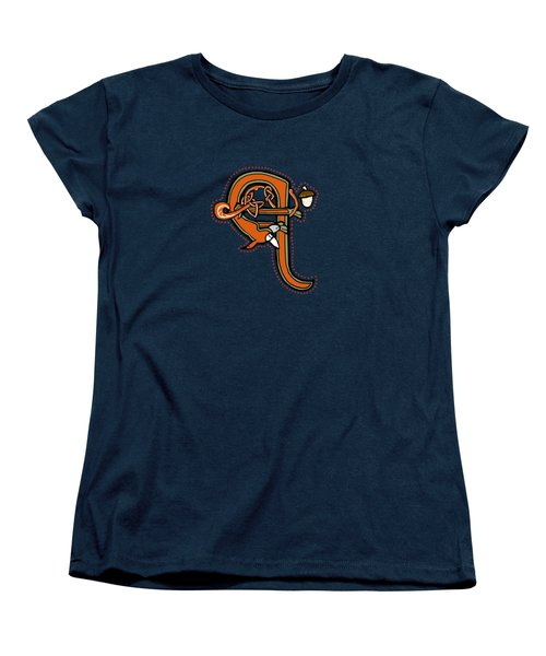 Women's T-Shirt (Standard Cut) featuring the digital art Medieval Squirrel Letter Q by Donna Huntriss