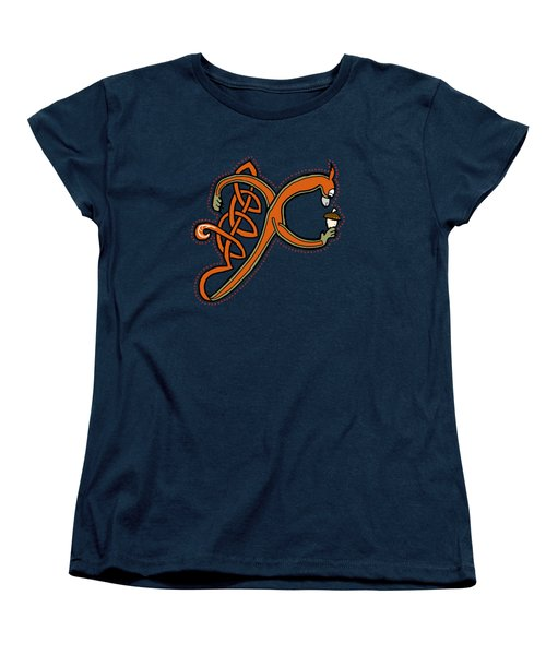 Medieval Squirrel Letter X Women's T-Shirt (Standard Cut) by Donna Huntriss