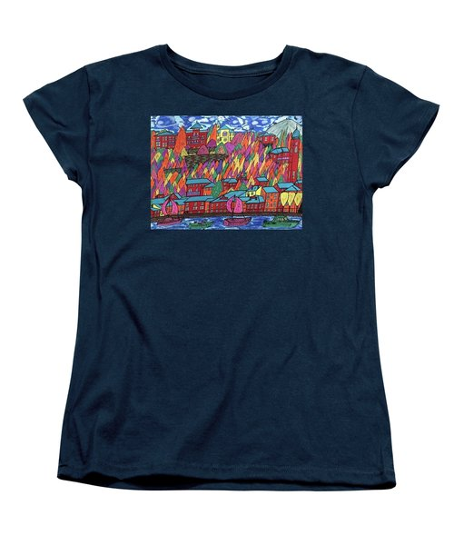 Women's T-Shirt (Standard Cut) featuring the painting Menaggio Italy by Jonathon Hansen