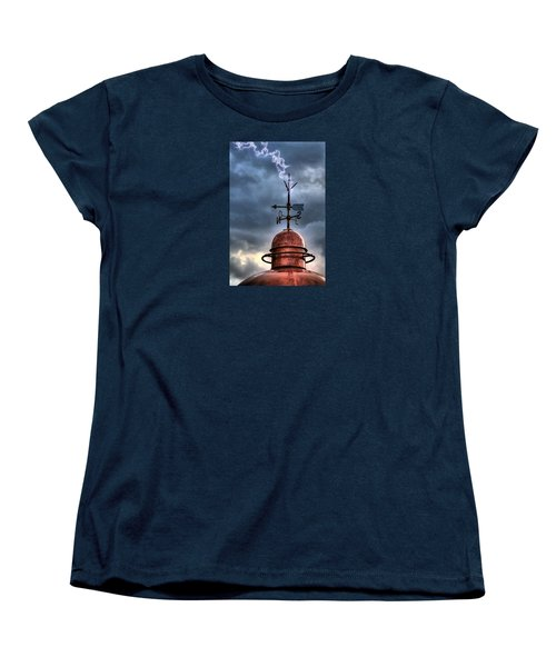 Menorca Copper Lighthouse Dome With Lightning Rod Under A Bluish And Stormy Sky And Lightning Effect Women's T-Shirt (Standard Cut)