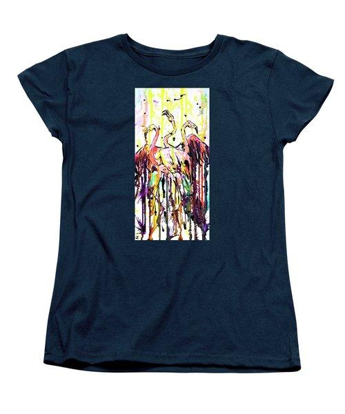 Women's T-Shirt (Standard Cut) featuring the painting Merging. Flamingos by Zaira Dzhaubaeva