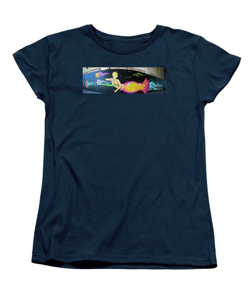 Women's T-Shirt (Standard Cut) featuring the photograph Mermaid And Jellyfish Panoramic by Colleen Kammerer