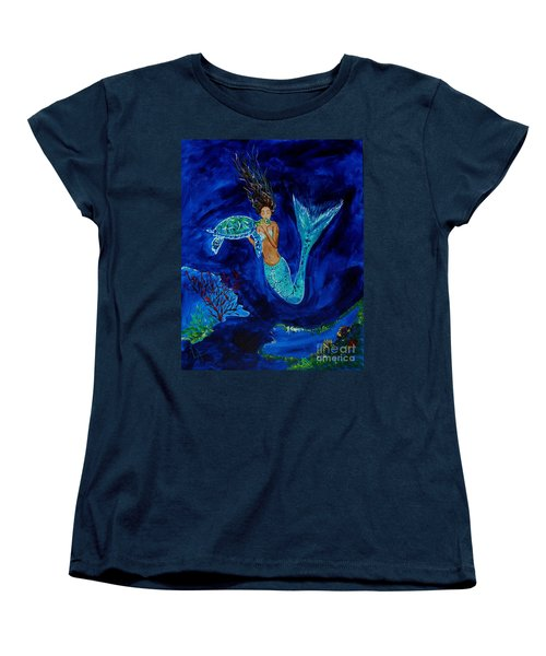 Mermaid And The Sea Turtle Women's T-Shirt (Standard Cut) by Leslie Allen