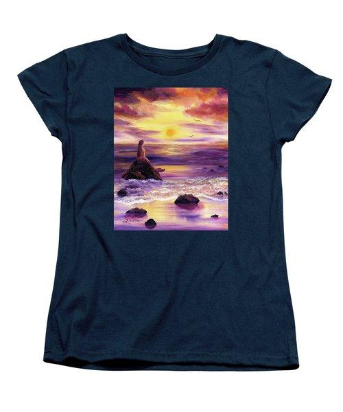 Mermaid In Purple Sunset Women's T-Shirt (Standard Cut) by Laura Iverson